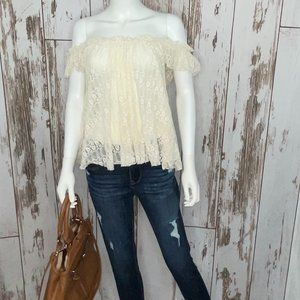 Cream Lace Off the Shoulder Top size Large